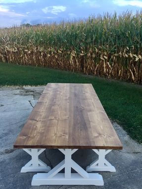 Custom Made Two-Toned Rustic Farmhouse Dining Table