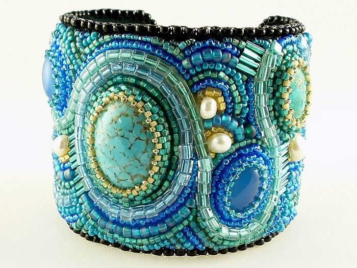 Custom Made Bead Embroidered Art Cuff