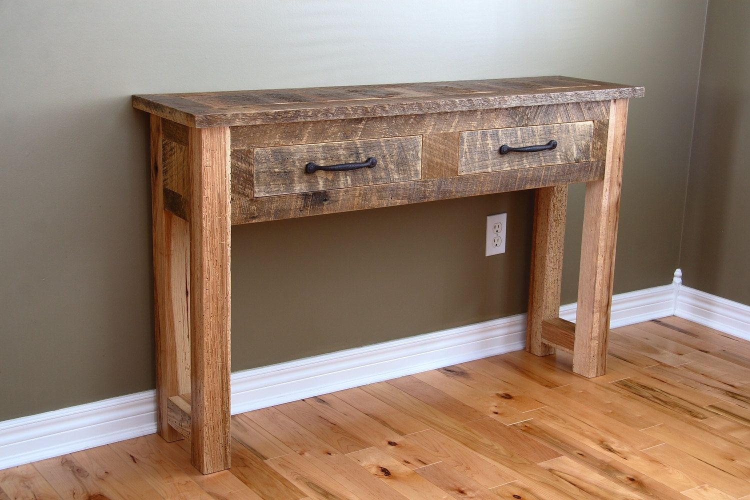Custom reclaimed wood console table by carpentercraig for Reclaimed wood table designs