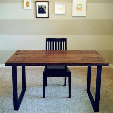Custom Made Reclaimed Wood Desk With Metal Frame