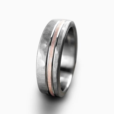 Custom Made Personalized Titanium & Rose Gold Hammered & Brushed Wedding Band
