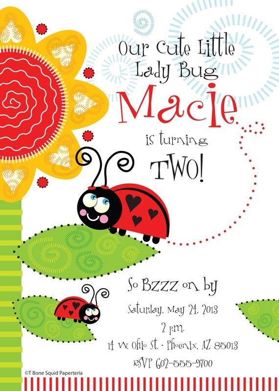Handmade lady bug birthday party invitation by t bone squid custom made lady bug birthday party invitation filmwisefo