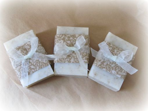 Custom Made Hand Made Soap, Oatmeal, Unscented, Two 3-4 Ounce Bars, Wrapped With Ribbon Bow, Decor, Functional