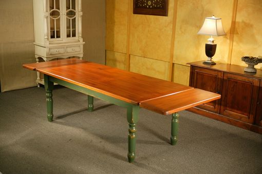Custom Made Thick Top Dining Table With Extensions With Fruitwood Finish