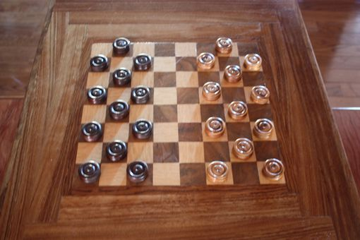 Custom Made Chess Table And Benches W/  Chessmen And Checkers