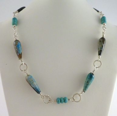 Custom Made Necklace With Silver, Turquoise And Fire Agates