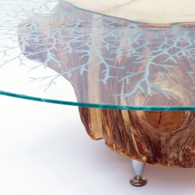 Hand Crafted Etched Gl Stump Coffee Table By Jennifer Rong Designs Custommade