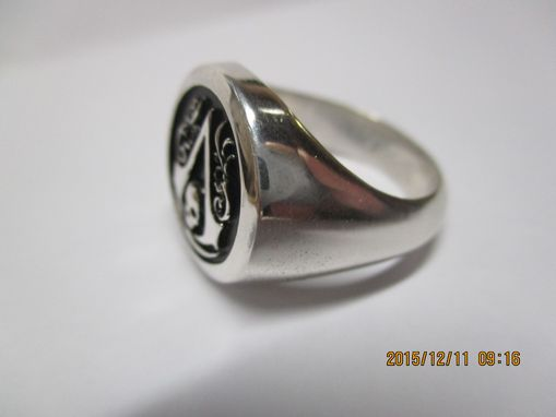 Custom Made Assasin's Creed Ring Black Flag Symbol Signet Ring