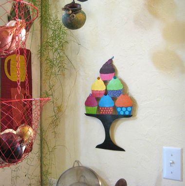 Custom Made Handmade Upcycled Metal Cupcakes Wall Art Sculpture