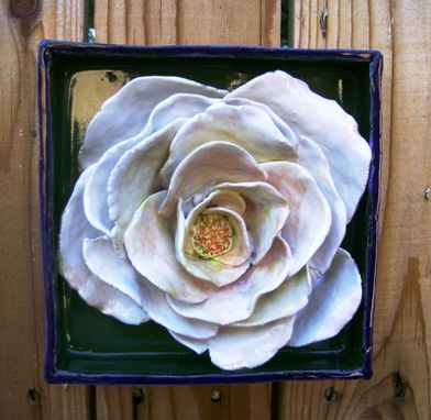 Custom Made Mothers Day Gift, White Rose Flower Box, Ceramic Wall Hanging