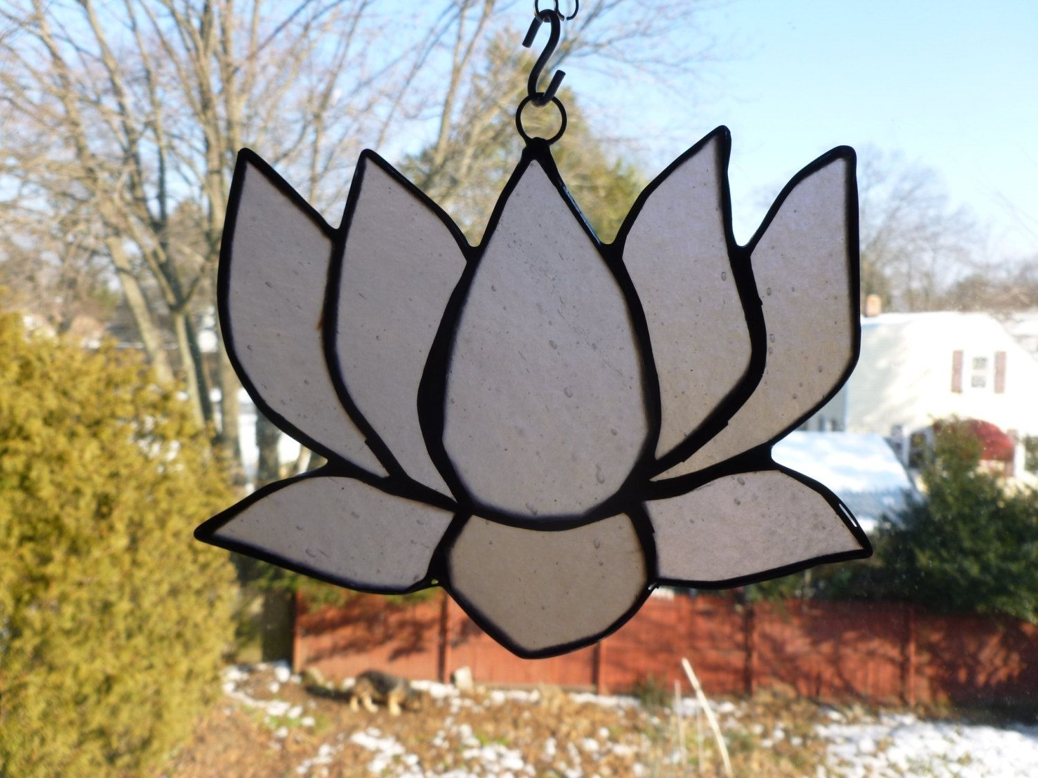 Hand Made Pink Iridescent Stained Glass Lotus Flower By Glass Monkey