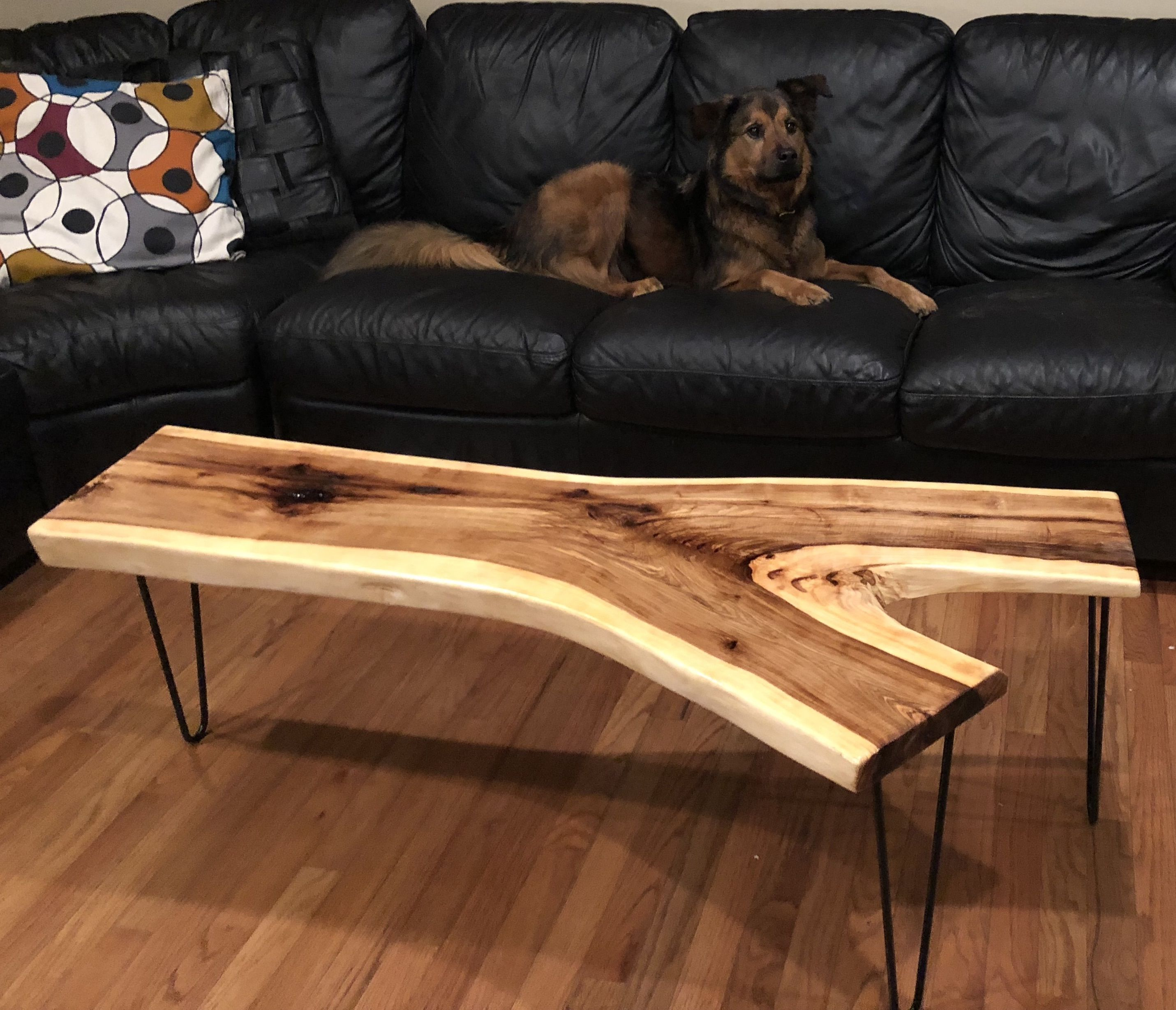 Buy A Hand Crafted Mid Century Modern Live Edge Hickory Coffee