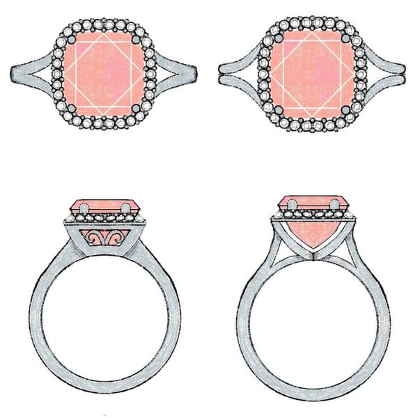 Concept sketches for a split shank ring design with subtle vintage accents, showcasing a cushion cut morganite center stone.