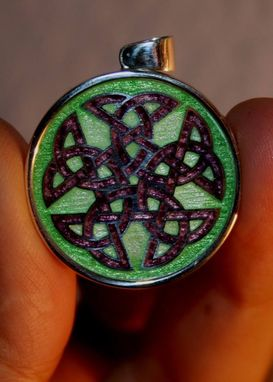 Custom Made Luceo Non Uro Custm Design Silver & Enamel Pendant Of Tattoo