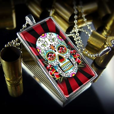 Custom Made Sterling Silver Day Of The Dead Rays Necklace 61-Srcn