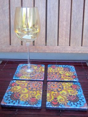 Custom Made Coasters Handmade Sun Design With Original Artwork-Set Of 4 Orange Yellow Blue