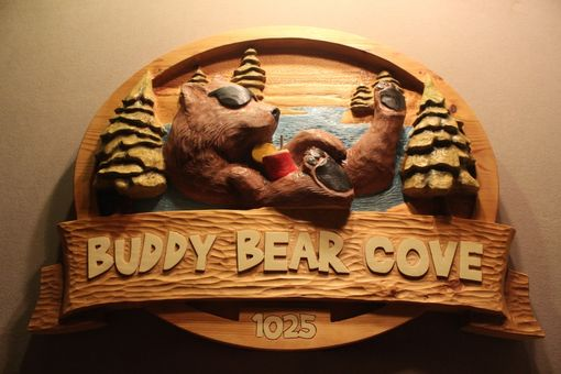 Hand Crafted Custom Carved Wood Signs Bear Signs Wolf