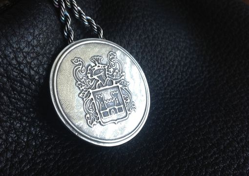 Custom Made Family Crest Silver Medallion And Chain