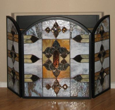 Custom Made Stained Glass Fire Screen With 2 Matching