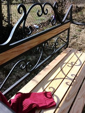 Custom Made Oak And Iron Bench