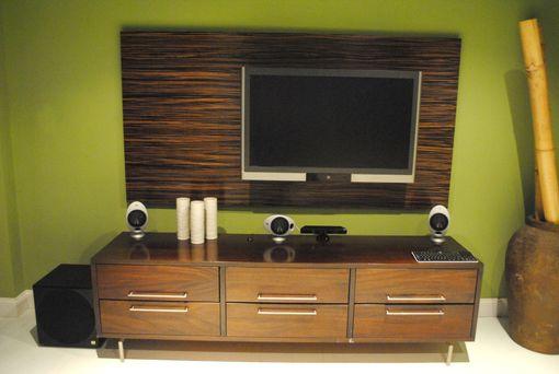 Hand Made Macassar Ebony Wood Wall Tv Panel By Paradigm