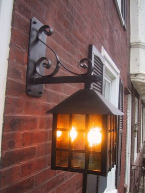 Custom Made Forged Iron Stained Glass Row House Lantern