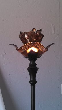 Custom Made Double Bronze Floor Lamp With 2 Shades