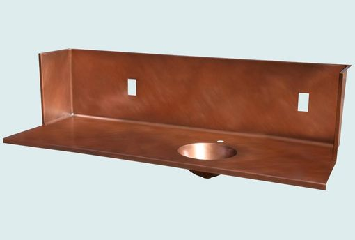 Custom Made Copper Countertop With Tall Splash & Round Sink