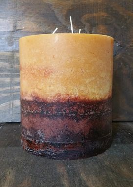 Custom Made Sandalwood Triple Wick Pillar Candle, Rustic Textured Finish Beige And Brown 5.5