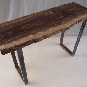 live edge walnut console table with steel base by michael heuser - Entry Table