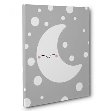 Custom Made Happy Moon Nursery Canvas Wall Art