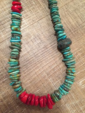 Custom Made Turquoise And Red Coral Necklace