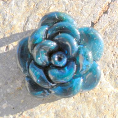 Custom Made Sparkling Blue Glass Rose Pendant