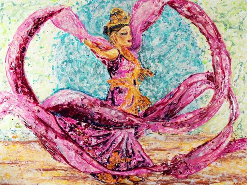 Custom Made Chinese Ribbon/Feather Dancing Performance Paintings