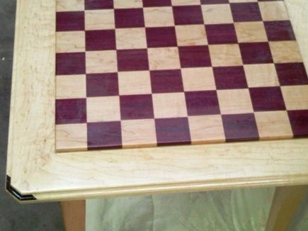 Custom Made Chess Table, Purpleheart & Maple.