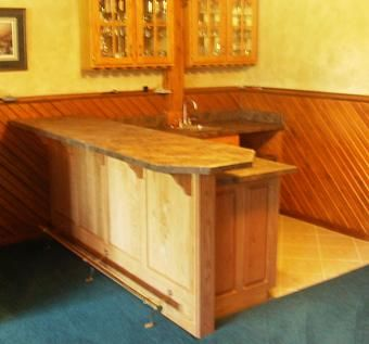 Custom Made Red Oak Wet Bar