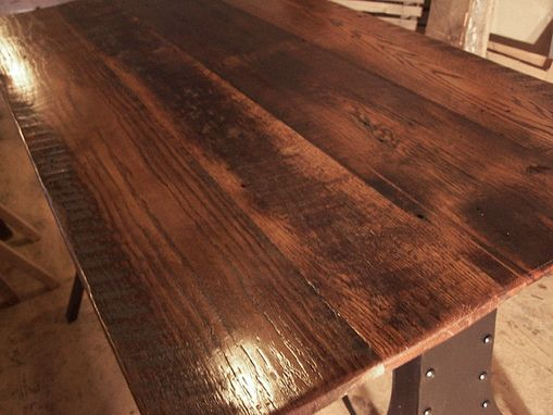 Custom Made Reclaimed Wood Train Bridge Industrial Metal Base Table With Plank Top