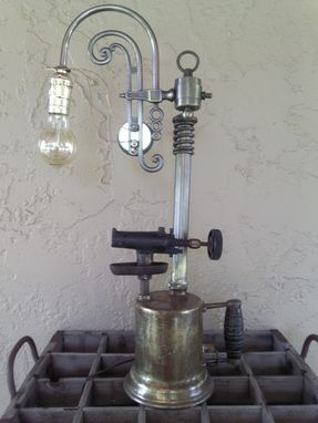 Custom Made Industrial/Steampunk Edison Light Vintage Torch Table Lamp