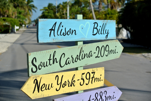 Custom Made Wood Destination Signage Wedding Gift Idea. Directional Arrows Sign Post