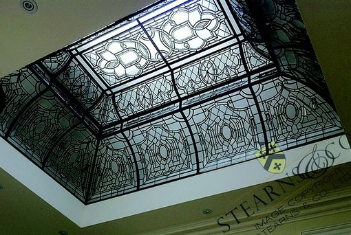 Custom Made 13' X 9' Multi-Level Leaded Glass Dome Ceiling.