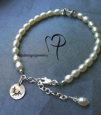 Custom Made Abide Pearl Handstamped Bridal Keepsake Bracelet