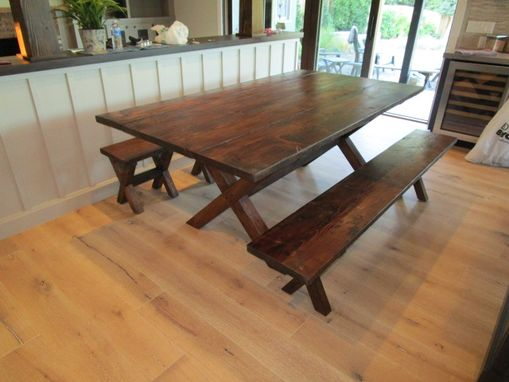 Custom Made Reclaimed Wood Dining Table And 4 Benches