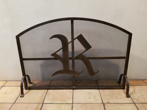 Custom Made Brow Arch Fireplace Screen With Initial And Mesh