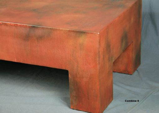 Custom Made Unique Modern Coffee Table. Orange. Bench. Steel. Chunky And Industrial. Customizable.
