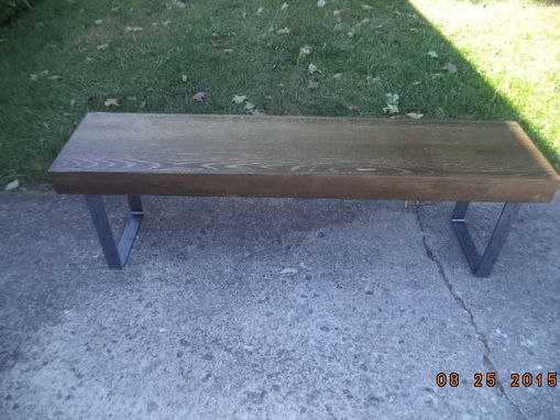 Custom Made Bench, Coffee Table, Wooden Bench, Furniture, Handmade. Salvaged, Steel Legs, Industrial Look,