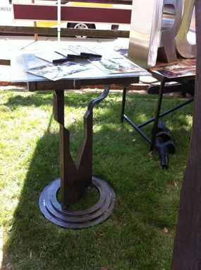 Custom Made Pedestal Table With Stool