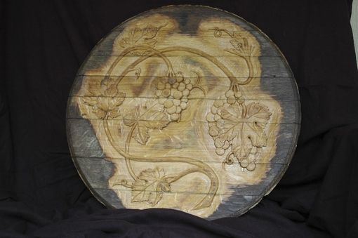 Custom Made Hand-Carved Wine Cask End With Grape Design