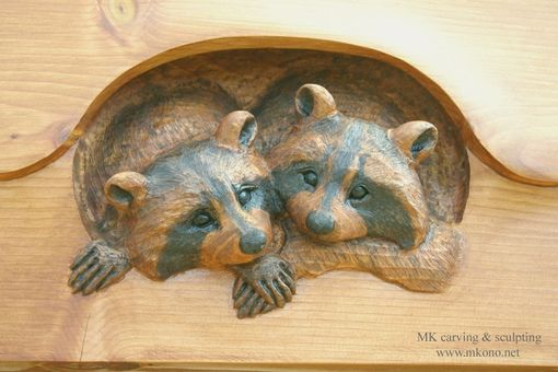 Custom Made Raccoons In A Hole
