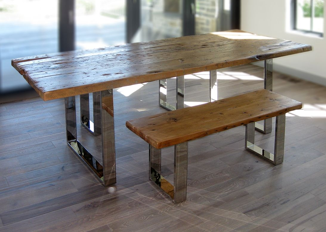 Hand Crafted Modern Reclaimed Wood Table And Benches By Abodeacious