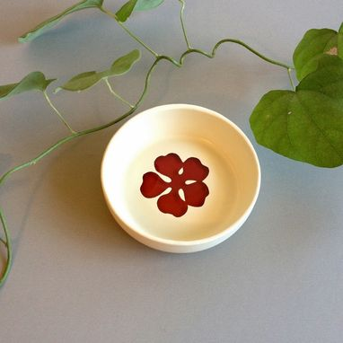 Custom Made Ring Holder, Upcycled Jewelry Dish, White And Red, Flower